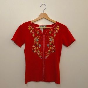 cute unique 90s embroidered top